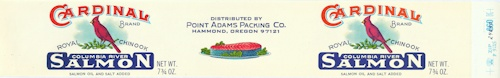 Image, Point Adams Packing Co. salmon label, click to enlarge