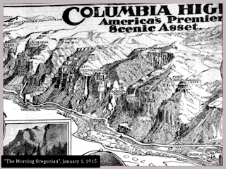 Image, Columbia River Gorge map, Morning Oregonian, January 1, 1915, click to enlarge