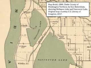 Image, 1888, Map detail, Shillapoo Lake and Vancouver Lake,  click to enlarge