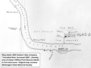 Hudson's Bay Company map detail, 1825, Willow Point to Fort Vancouver, click to enlarge