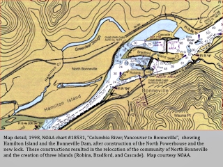 NOAA chart, 1998, Bonneville Dam, click to enlarge