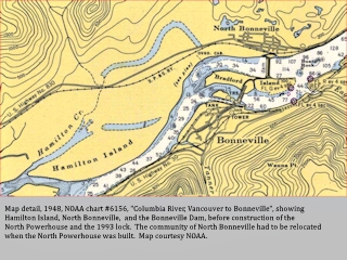 NOAA chart, 1948, Bonneville Dam, click to enlarge