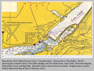 Map detail, 1966, The Dalles Dam and Lake Celilo, Washington, click to enlarge