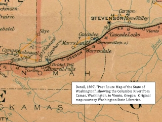 Image, 1897 Railroad Map, Camas to Viento, click to enlarge