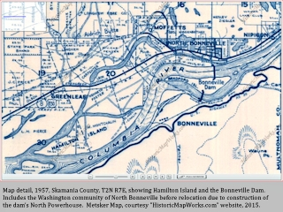 Map, 1957, Bonneville Dam North Powerhouse, click to enlarge