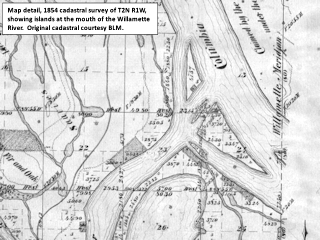 Cadastral map detail, 1854, T2N R1W, mouth of the Willamette River, Oregon, click to enlarge
