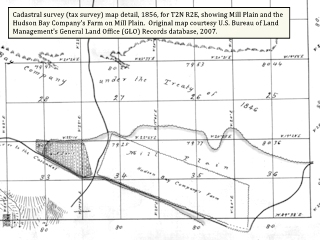 Image, 1856 Cadastral detail, T2N R2E, Vancouver, Washington, click to enlarge