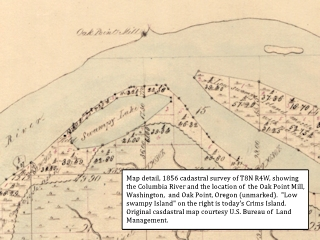 Cadastral map detail, Oak Point, Oregon and Washington, click to enlarge