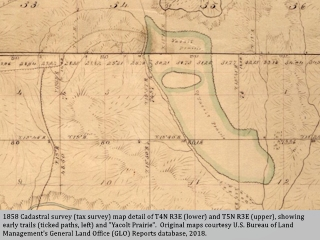 Map detail, 1858, Cadastral survey map showing Yacolt Prairie, Washington, click to enlarge