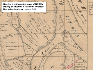 Cadastral map detail, 1862, T2N R1W, mouth of the Willamette River, Oregon, click to enlarge