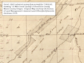 Map detail, 1865, Fifteenmile Creek, Oregon, click to enlarge
