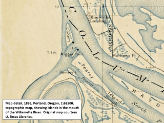 Topographic map detail, 1896, mouth of the Willamette River, Oregon, click to enlarge