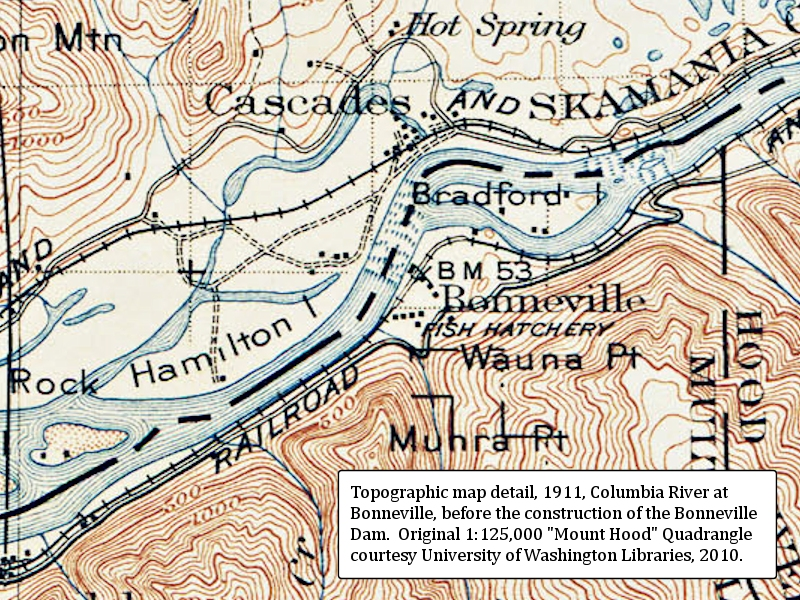 The Columbia River - Bonneville Dam and Bonneville Reservoir on