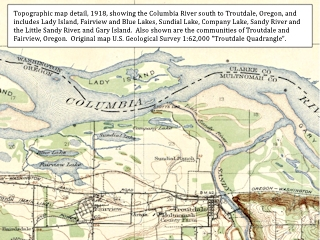 Topo map detail, 1918, Troutdale, Oregon, click to enlarge