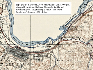 Historic Map, 1930, The Dalles Quadrangle map detail, click to enlarge