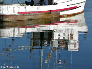 Image, 2005, Reflection, Goble, Oregon, boat dock, click to enlarge