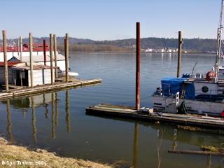 Image, 2005, Goble Landing boat dock, Oregon, click to enlarge