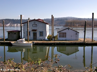 Image, 2005, Goble Landing, Goble, Oregon, dock houses, click to enlarge