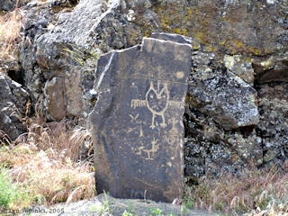 Image, 2005, Petroglyph, Horsethief Lake State Park, from the east, click to enlarge