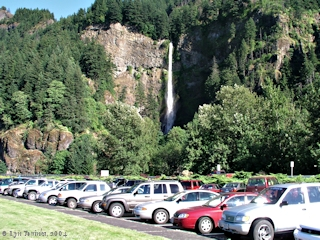 Image, 2004, Multnomah Falls, Oregon, upper falls, from parking, click to enlarge