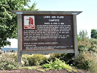 Image, 2003, Lewis and Clark Campsite Sign, Washougal, Washington, downstream, click to enlarge