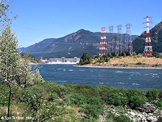Image, 2004, Bonneville Dam from Fort Cascades Trail, click to enlarge