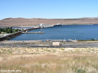 Image, 2004, McNary Dam and Umatilla Rapids, from overlook, click to enlarge
