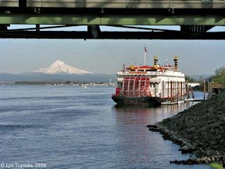 Image, 2004, Mount Hood from Hayden Island, under the I-5 Bridge, click to enlarge
