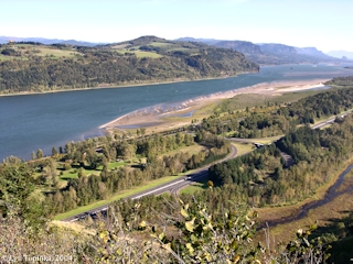 Image, 2004, Rooster Rock State Park from Crown Point, Oregon, click to enlarge