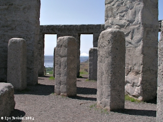 Image, 2004, Mount Hood, Oregon, as seen from inside Washington's Stonehenge Memorial, click to enlarge