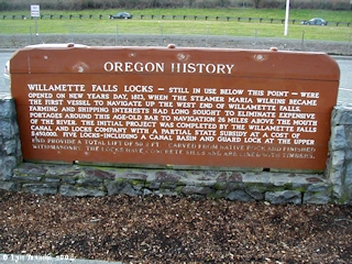 Image, 2004, Sign, Oregon History, Willamette Falls Locks, click to enlarge