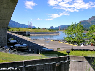 Image, 2005, Looking downstream from Bonneville Dam, click to enlarge