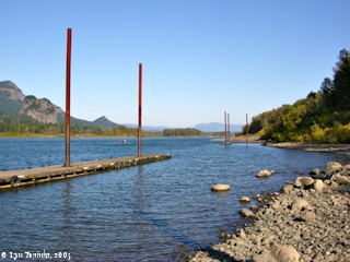 Image, 2005, Looking upstream from boat ramp at Dodson, Oregon, click to enlarge