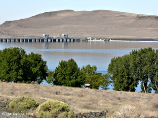 Image, 2005, McNary Dam and Sillusi Butte from McNary Beach, click to enlarge