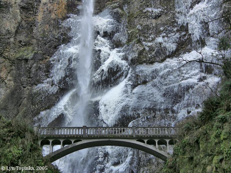 Multnomah Falls and Benson Bridge, Oregon. Image taken December 10 ...