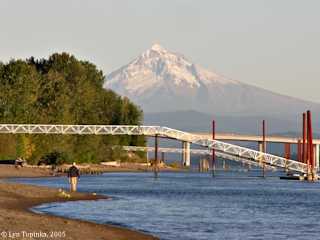 Image, 2005, Wintler Park, looking upstream at Mount Hood, click to enlarge