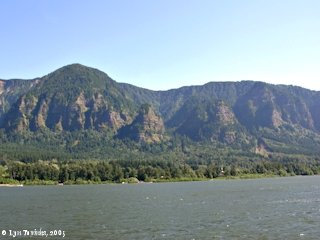 Image, 2005, Yeon Mountain, St. Peters Dome, and Rock of Ages, from Skamania Landing, click to enlarge