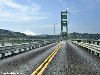 Image, 2006, Mount Hood and the Hood River Bridge, click to enlarge