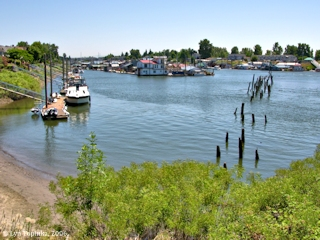 Image, 2006, North Portland Harbor with old streetcar trestle, from Tomahawk Island, Oregon, click to enlarge
