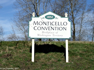 Image, 2007, Monticello Convention sign, Longview, Washington, click to enlarge