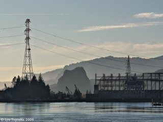Image, 2009, Bonneville Dam and Beacon Rock as seen from mouth of Eagle Creek, click to enlarge