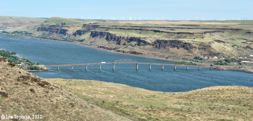 Image, 2012, Biggs Rapid Bridge and upstream Columbia River as seen from Maryhill Museum, click to enlarge