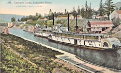 Penny Postcard, Cascade Locks, Steamers, including the Dalles City