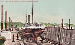 Penny Postcard, 'Geo.W.Elder' in drydock, Portland, click to enlarge