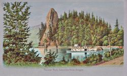 Penny Postcard, Rooster Rock and the Hattie Belle, Oregon